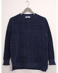 Center Seam Chenille Sweater - Navy