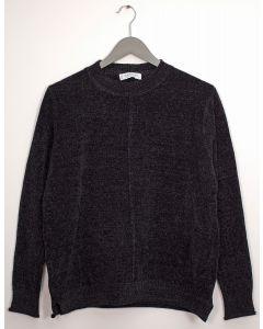 Center Seam Chenille Sweater - Black