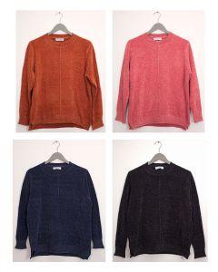 Center Seam Chenille Sweater - Assorted