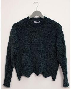 Scallop Hem Chenille Sweater - Green