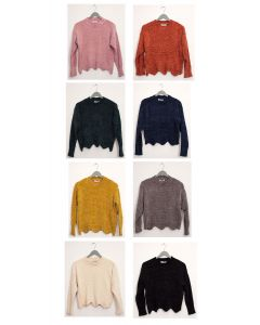 Scallop Hem Chenille Sweater - Assorted