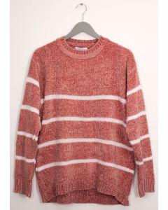 Stripe Eyelash Chenille Sweater - Salmon
