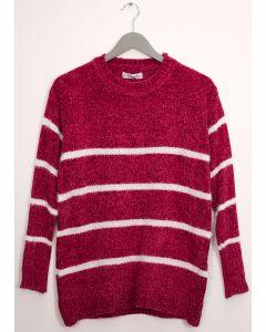 Stripe Eyelash Chenille Sweater - Plum
