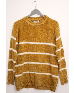 Stripe Eyelash Chenille Sweater - Mustard