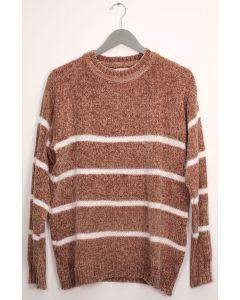 Stripe Eyelash Chenille Sweater - Taupe