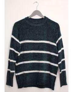 Stripe Eyelash Chenille Sweater - Hunter Green