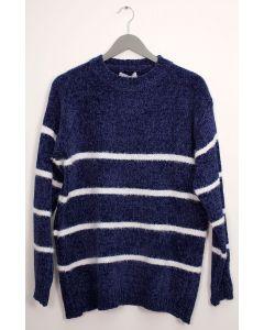Stripe Eyelash Chenille Sweater - Navy