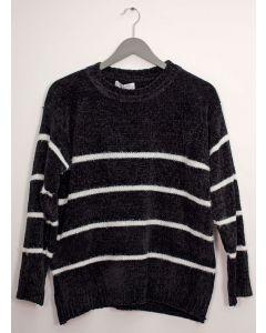 Stripe Eyelash Chenille Sweater - Black