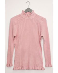 Ruffle Neck Ribbed Sweater - Pale Pink