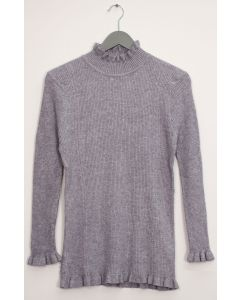 Ruffle Neck Ribbed Sweater - Grey