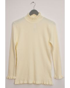 Ruffle Neck Ribbed Sweater - Ivory