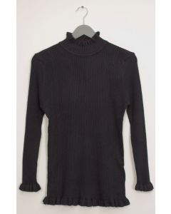 Ruffle Neck Ribbed Sweater - Black
