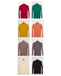 Scallop Mock Neck Ribbed Sweater - Assorted