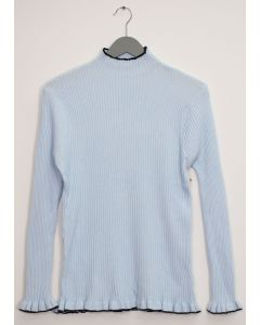 Contrast Mock Neck Ribbed Sweater - Sky Blue