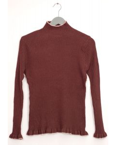 Contrast Mock Neck Ribbed Sweater - Brown