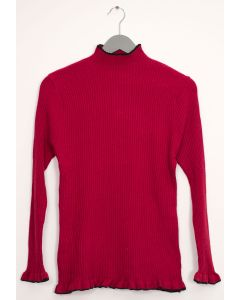 Contrast Mock Neck Ribbed Sweater - Wine
