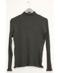 Contrast Mock Neck Ribbed Sweater - Hunter Green
