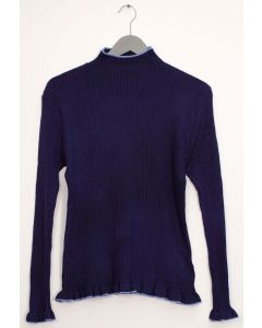 Contrast Mock Neck Ribbed Sweater - Navy
