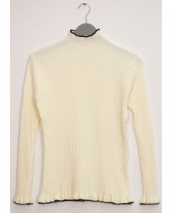 Contrast Mock Neck Ribbed Sweater - Ivory