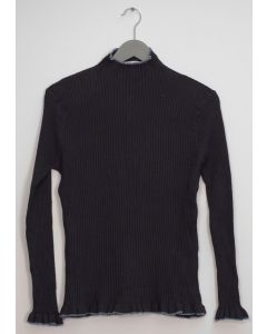 Contrast Mock Neck Ribbed Sweater - Black