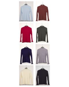 Contrast Mock Neck Ribbed Sweater - Assorted