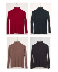 Mock Neck V Knit Ribbed Sweater - Assorted