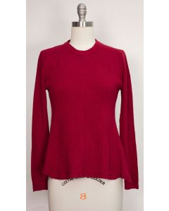 Swing Hem Pullover Sweater - Wine
