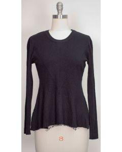 Swing Hem Pullover Sweater - Black