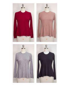 Swing Hem Pullover Sweater - Assorted