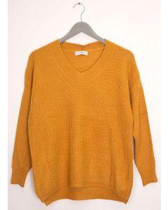 V Neck Oversized Sweater - Mustard