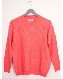 V Neck Oversized Sweater - Neon Pink
