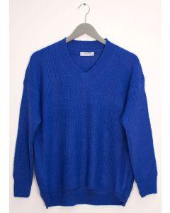 V Neck Oversized Sweater - Royal Blue