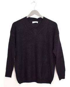 V Neck Oversized Sweater - Black