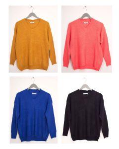 V Neck Oversized Sweater - Assorted