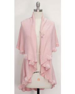 Solid Pom Pom Cape - Blush Pink
