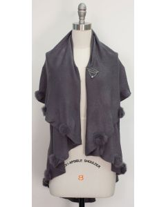 Solid Pom Pom Cape - Grey