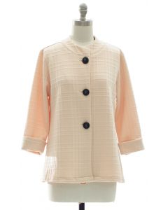 Mandarin Collar Textured Coat - Cream
