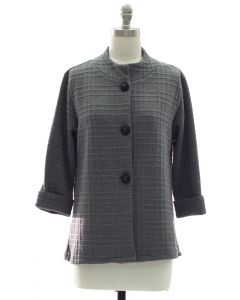 Mandarin Collar Textured Coat - Charcoal