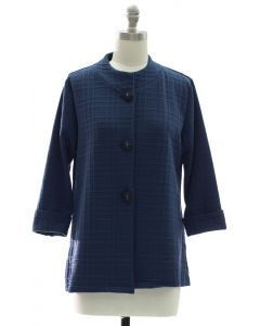 Mandarin Collar Textured Coat - Midnight Blue