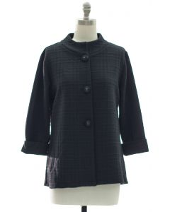 Mandarin Collar Textured Coat - Black