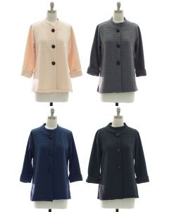 Mandarin Collar Textured Coat - Assorted