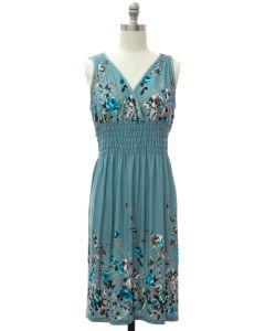 Shoulder Cinch Midi Dress - Pale Blue