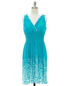 Printed Surplice Midi Dress - Turquoise