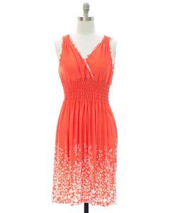Printed Surplice Midi Dress - Orange