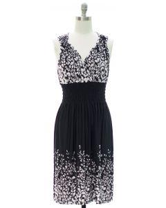 Printed Surplice Midi Dress - Black