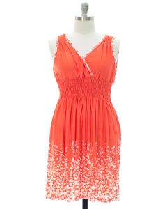 Plus Printed Surplice Midi Dress - Orange
