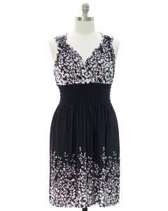 Plus Printed Surplice Midi Dress - Black