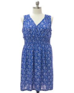 Plus Shoulder Cinch Midi Dress - Geo Blue