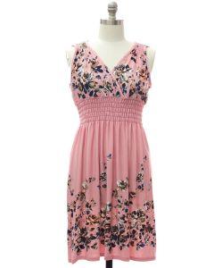 Plus Smock Waist Midi Dress - Pink