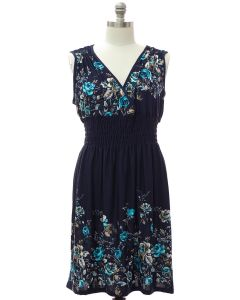 Plus Smock Waist Midi Dress - Navy